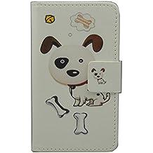 ZTE Blade L2Caso [lápiz capacitivo], lujo Cartera Titular de la tarjeta cierre magnético Funda de piel para ZTE Blade L2(diseño de perro)