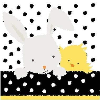 Servietten Oster-Hase und Küken Tisch-Deko Geschenk-Idee Servietten-Technik DIY Kinder-Geburtstag Feier Fest Party weiß/schwarz/gelb, 33x33cm, 20 Stück-Pack