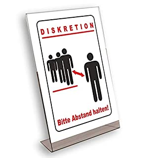 Diskretion - Bitte Abstand halten! Acryl Werbeaufsteller DIN A4 L-Ständer/Werbeaufsteller im Hochformat