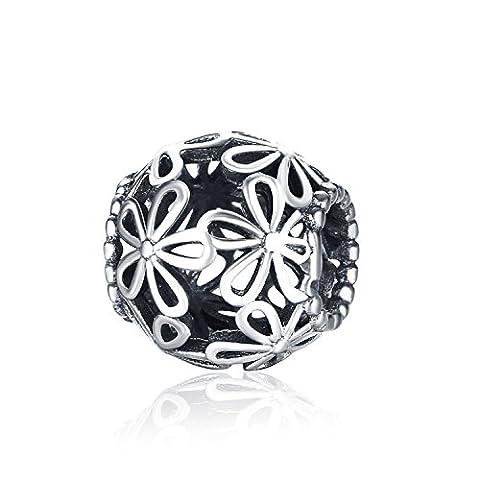Hmilydyk Bijoux pour femme Argent sterling 925élégant Fleur Perles Charms Bon Marché pour Pandora Charm Bracelets