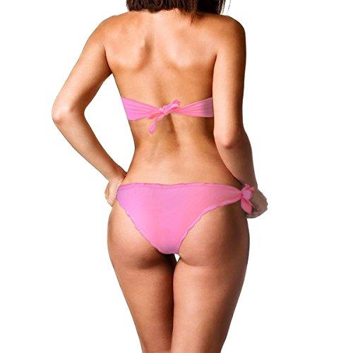 Costume bikini a fascia mod. Rustle con ruches colorate imbottitura removibile KL233. MWS Rosa
