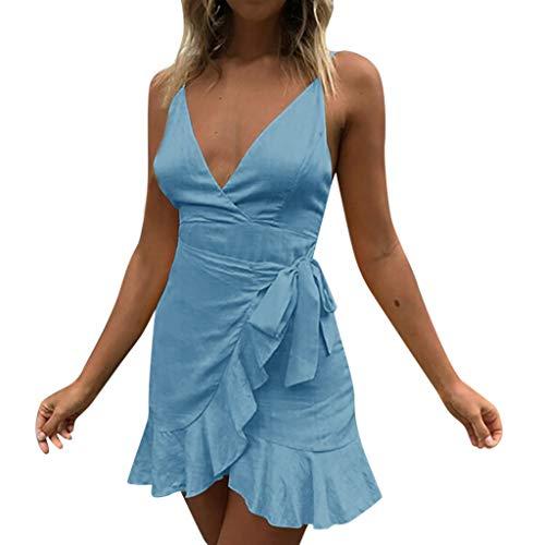 iHENGH Damen Sommer Rock Lässig Mode Kleider Bequem Frauen Röcke Womens Holiday Lace Up Damen Sommer Pomisi rückenfreies Beach Party Kleid(Blau, ()
