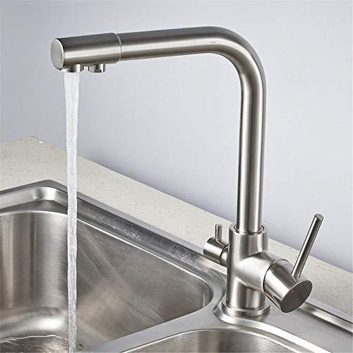 Kupferrohr Küche heiße und kalte Spülen rotierenden Wasserhahn reines Wasser gerade Trinkwasser Waschbecken gebürstetem Wasserhahn -