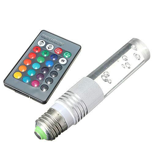 Glühbirne Mit Fernbedienung,E27 3 W Crystal-Led-Rgb-Hintergrundbeleuchtung 16 Farben Und 4 Farbmodi Mit 24 Clave-Fernbedienung