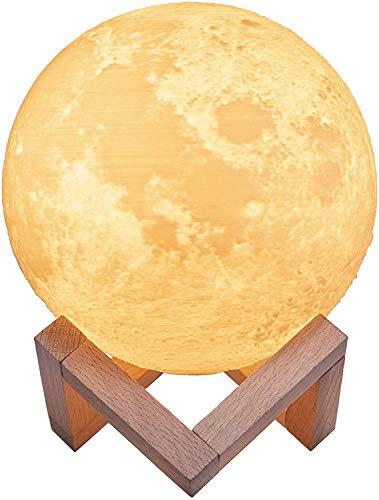 Lámpara Luna 3D,TaoTronics Luz Nocturna Luna LED (15cm) Control Táctil,3 Colores, Brillo Regulable, Lámpara Ambiente Luz Decorativa para Dormitorio, Salón, Decoración Hogar,Regalo Romántico