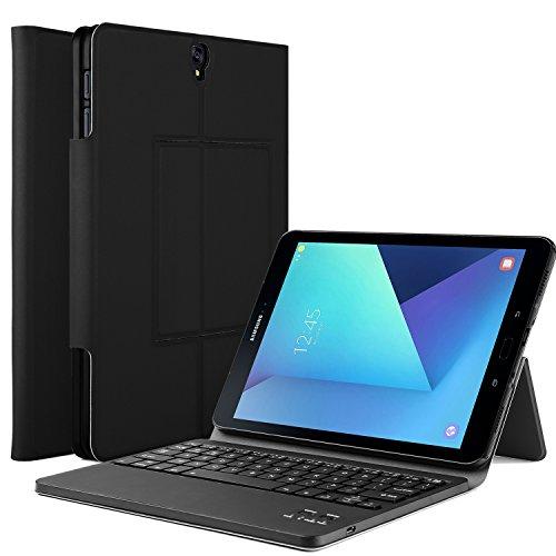 ELTD Samsung Galaxy Tab S3 (9,68 Zoll) Tastatur, Detachable Bluetooth Tastatur (QWERTZ Tastatur) mit Standfunction für Samsung Galaxy Tab S3 T820 / T825 (9,68 Zoll) 2017, Schwarz