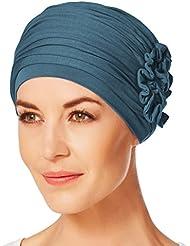 Gorro Lotus con bambú azul petróleo para mujeres en tratamiento de quimioterapia