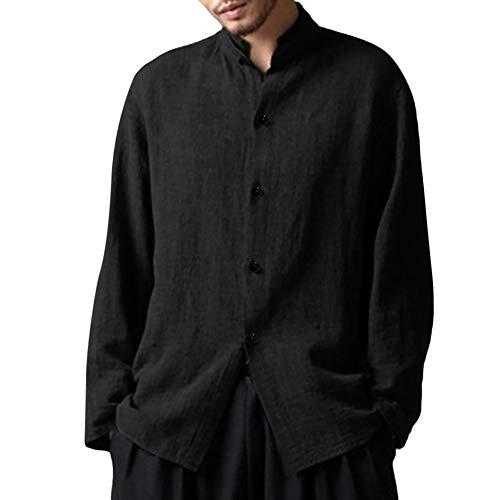 Mitlfuny Chinese Vintage Style Langarmshirts Mode Breathable Langarmshirt Sweatshirt Men Autumn Casual Long Sleeve Leinen T-Shirt Button Oberteile