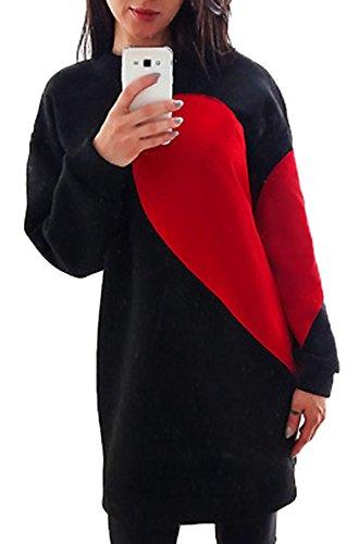 Donna Autunno Inverno Jumper Pullover Moda Mini Abito Camicie Lunghe Ragazza Felpa Vestito Manica Lunga Sweatshirt Blusa Nero