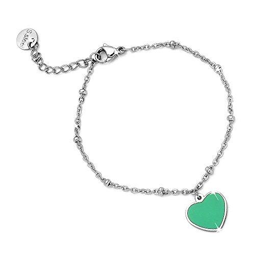 Beloved ❤️ bracciale donna braccialetto con charm ciondolo pendente linea easy con cuore smaltato colore verde - acciaio - lunghezza regolabile fino a 20 cm