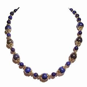 """Collier - Lapis-Lazuli et Doré Ancien Env. 19.5"""""""