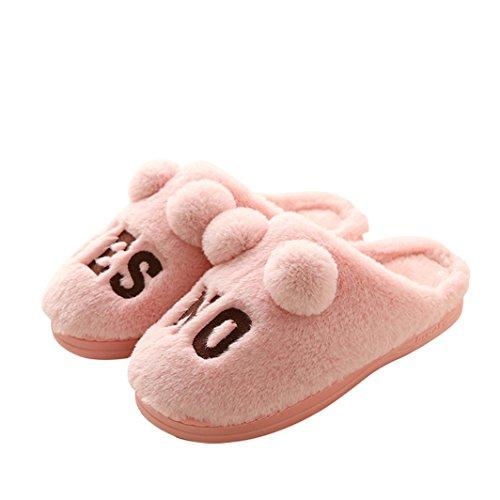 pragoo da donna Cute Pom Pom Bobble peluche Pantofole sì non divertente Scarpe antiscivolo Camera da letto casa pantofole scarpe, Pink