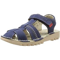 Kickers Neorobis - Sandalias deportivas de cuero para niño azul Bleu (Marine) 27