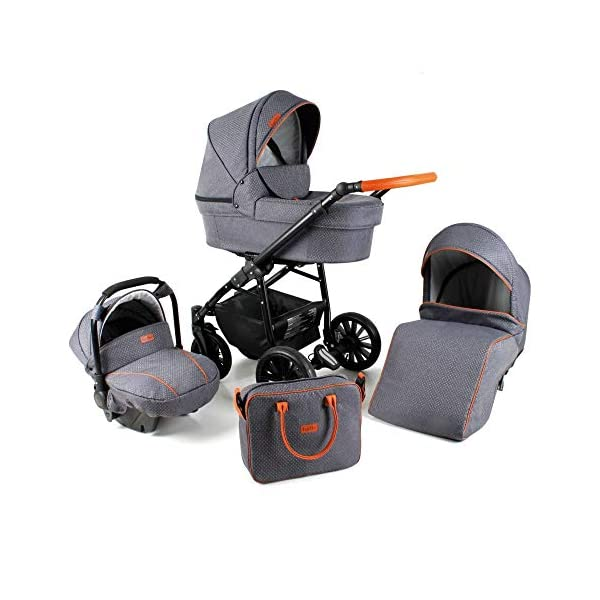 Lux4Kids Pram Stroller 3in1 2in1 Isofix Colour Selection Buggy Car seat for Grey For-05 4in1 car seat +Isofix Lux4Kids Lux4Kids For 3in1 or 2in1 pushchair. You have the choice whether you need a car seat (baby seat certified according to ECE R 44/04 or not). Of course the car is robust, safe and durable Certificate EN 1888:2004, you can also choose our For with Isofix. The baby bath has not only ventilation windows for the summer but also a weather footmuff and a lockable rocker function. The push handle adapts to your size and not vice versa, the entire frame is made of a special aluminium alloy with a patented folding mechanism. 2