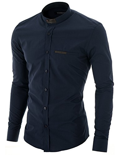 MODERNO Col Mao Manches Longues Chemise Homme (MOD1427LS) Marine