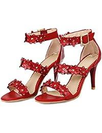 7e8452586d Ms Sandalias de flores Zapatos de tacón alto Rhinestone Suede Mujeres  Tacones altos Correa delantera de gran tamaño.