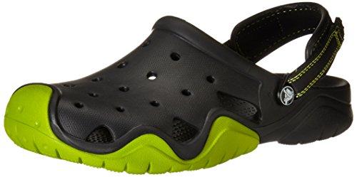 Crocs Swiftwater M - Zuecos de sintético Para Hombre, Color Negro (Black/Volt Green), Talla 46-47