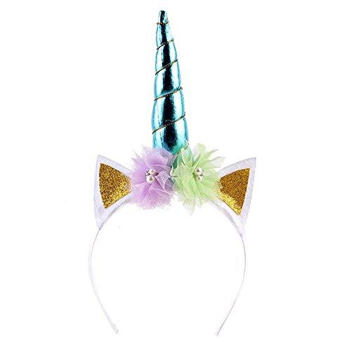 happyquda Spitze Blume Einhorn Horn Ohren Kopfband Cosplay Kostüm Make-up Party Hochzeit Geburtstag Performence Kopfschmuck Haar (Einhorn Kostüme Womens)