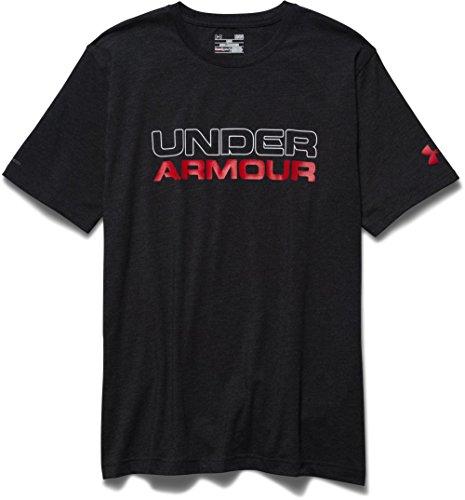 Under Armour Cotton WoodMark WordMark Men's Round Neck T-Shirt (1265929-001_Medium_Black/White)