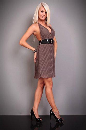 Neck cantore Mini vestito con cintura da Marrone per unità voita se per S M 36 38 di Vogue Marrone