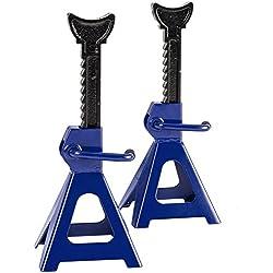 TecTake Lot de 2 Chandelles à crémaillère 2 x 3000 kg | espace de levage : 285 - 425 mm | bleu