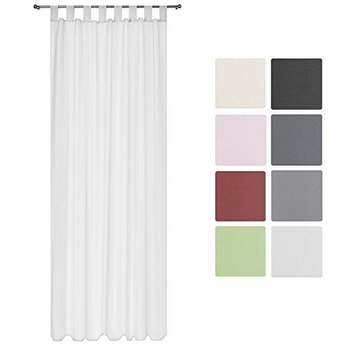 Beautissu Transparenter Schlaufen-Vorhang Amelie - 140x245 cm Weiß Uni - Voile Dekoschal Gardine Schlaufenschal Off-weiße Fenster Gardinen