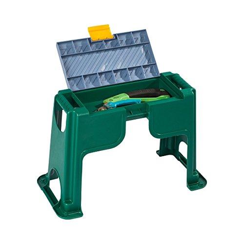 Garten-Hocker, 3 in 1, Kniebank mit aufklappbaren Fach & gepolsterter Auflage, sitzen & verstauen & knien, Kunststoff - Gepolstert 3-sitz