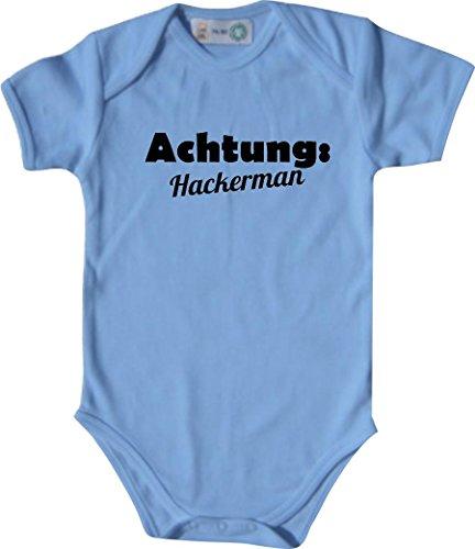 Baby Body; ACHTUNG: Hackerman; Farbe Babyblau; Größe 86-92 (18-23 Monate)