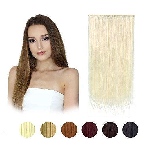 Feshfen, extension sintetiche da 61cm per capelli lunghi e dritti, monoblocco con clip per 3/4 di testa, con 5 fermagli, per donna, peso 130 g