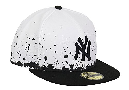 NEW YORK YANKEES - NEW ERA CAP - PANEL SPLATTER - WHITE / BLACK Größentabelle: 7 1/8 - 57cm (M)