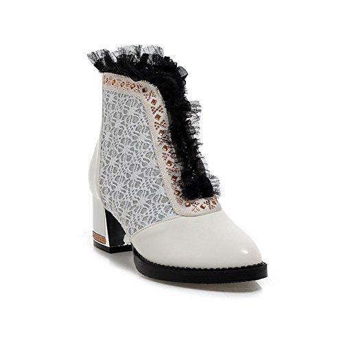 AllhqFashion Damen Blend-Materialien Rund Zehe Mittler Absatz Niedrig-Spitze Stiefel, Schwarz, 37