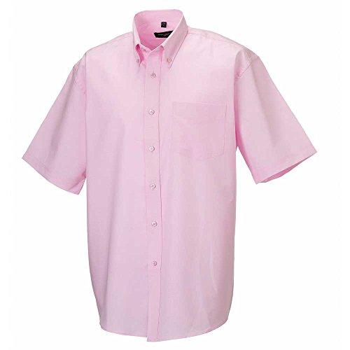 Russell Collection Mens Short sleeve Oxford shirt Classic Pink