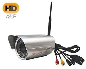 Foscam FI9805W l'objectif 4mm H.264 HD Megapixel 1.3M sans fil Vision de nuit étanche extérieur IP Camera motion detection DDNS gratuit alarm par Mail audio bidirectionnel -A rgenté