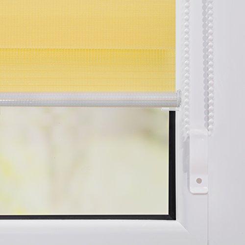 Lichtblick Duo-Rollo Klemmfix, 80 cm x 150 cm (B x L) in Gelb, ohne Bohren, Doppelrollo für Fenster & Türen, moderner Sichtschutz, innovative Kombination aus Rollo & Jalousie - 6