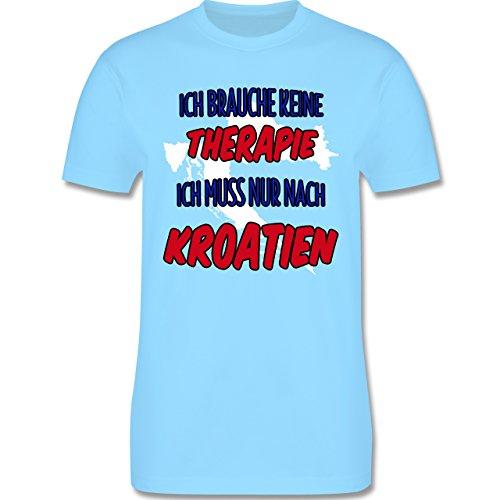 Länder - Ich brauche keine Therapie ich muss nur nach Kroatien - Herren Premium T-Shirt Hellblau
