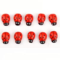 Aofocy Mini Cute 3d Wooden Ladybird Ladybug Wall Stickers Small Beetle Ladybugs Sticker for Craft Decoration 100Pcs