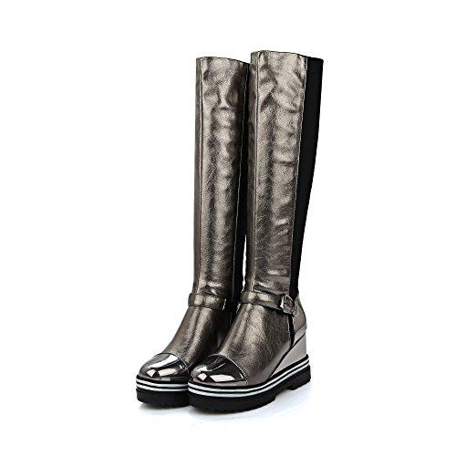 HUA&X Donna fondo spesso Chunky Heel lunghi stivali scarpe Red