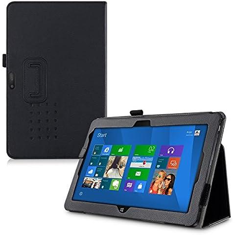 kwmobile Elegante funda de cuero sintético para Dell Venue 11 Pro 7000 en negro con una práctica FUNCIÓN DE SOPORTE
