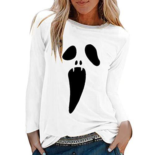 SHE.White Damen Halloween Weihnachten Kostüm, Frauen Langarm Geist Print Sweatshirt Pullover Tops Herbst Lose Casual Asymmetrische Druck Bluse T Shirt - Indien Maria Kostüm