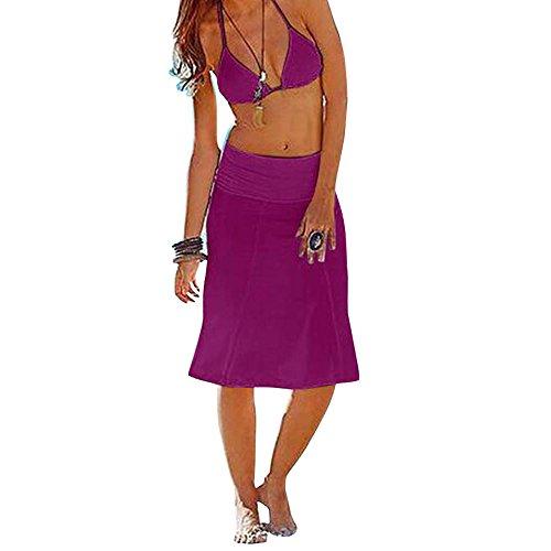 Arrowhunt Damen Mädchen Lang Einfarbig Dehnbare Kleider Strandkleider  strandrock Verschiedene Stile 8