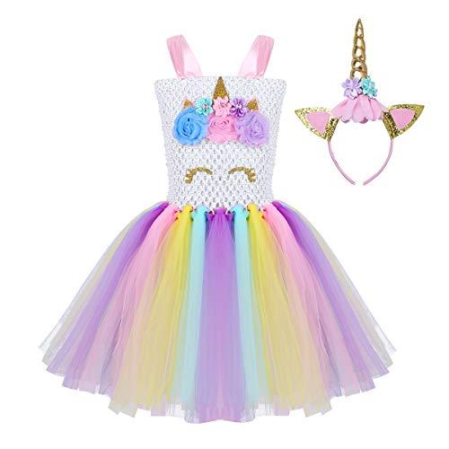 7c813578f CHICTRY Disfraz Princesa Unicornio para Niña Disfraz de Navidad Infantil  Vestido de Flores Tutu con Argolla de Pelo para Fiesta Cumpleaños Cosplay  ...