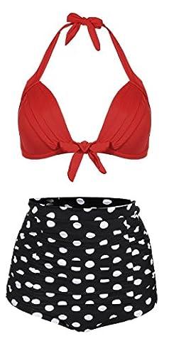 Anmengte Women's Retro High Waist Wave Point 2 Pieces Bikini Sets Swimsuit (L, Red)