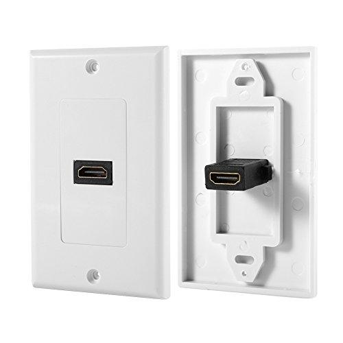Zerone 1 Port Vergoldetes HDMI mit Ethernet Wandplatte Face Cover für Heimkino DVD Weiß
