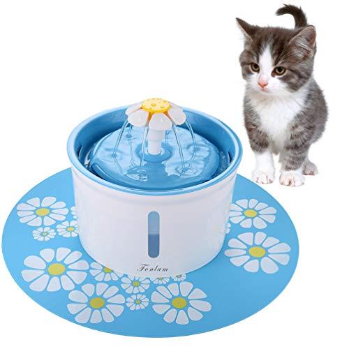 FONLAM Fuente para Gato Perrito Perro Cachorro Bebedero Automático de Silencio con 2 Filtros + Alfombrilla Impermeable Dispensador de Agua Mascota 1,6L Higiénico (Azul)