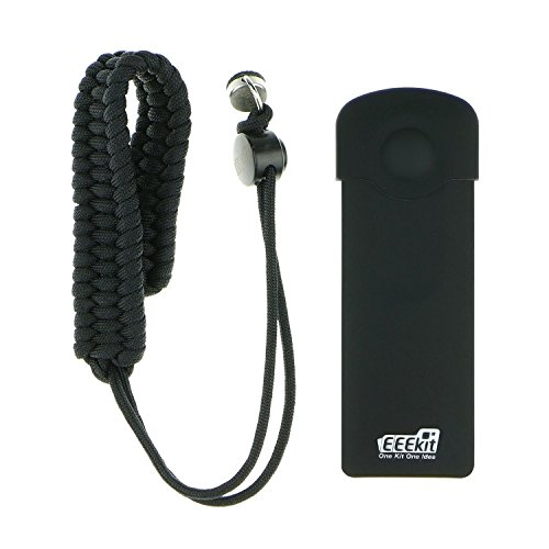 Cuerda Correa de muñeca, carcasa de silicona w/tapa de objetivo para RICOH THETA S cámara 360, EEEKit seguridad Protector Kit (negro)