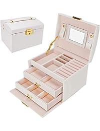 Gifort Caja Joyero, Caja para Joyas con Espejo y Cajones Estuche de Joyas con Cerradura para Pendientes, Collares, Pulseras, Relojes