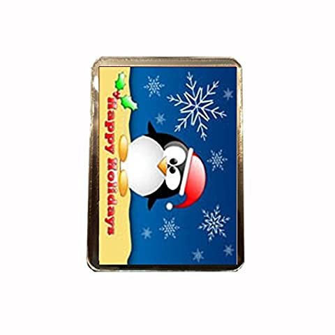 Happy Holidays - Novelty Christmas Fridge Magnet (Penguin)