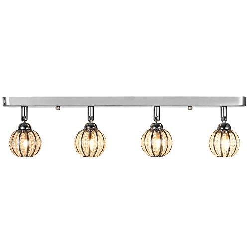 Deckenleuchte / Deckenlampe von [lux.pro]® - Modernes Design: Kristall-Kugeln auf Aluminium & Kunst-Kristall - 49 cm Leuchte - 4 x G9 Sockel - Lampe für Wohnzimmer & Schlafzimmer -