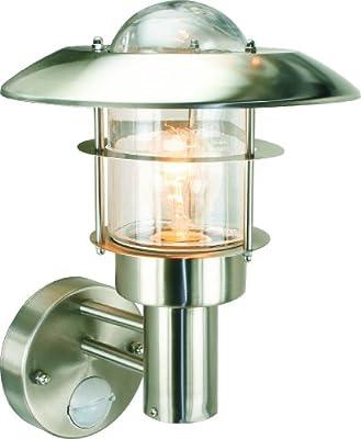 Byron Elro RVS20P Wandlaterne, Edelstahl, mit Bewegungsmelder, max. 60W/Energiesparlampe 13W von Toolbank - Lampenhans.de