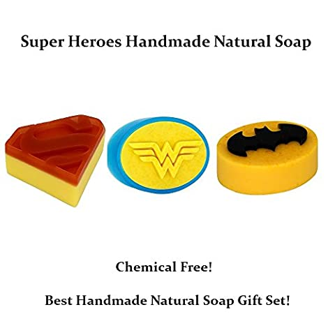Velvetian Special Super Heroes Handmade 100% All Natural Soap Bar. With activated Therapeutic Grade Essential Oils. Body & Face Wash for Men, Women & Teens. 3pcs Set, Chemical Free. 3.04~4.05 oz (ea)